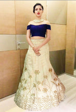 Load image into Gallery viewer, L12, Blue Crop top With Golden Lehenga, Size (XS-30 to L-38)