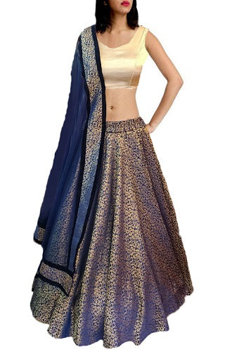 Blue Brocade Lehenga 1600, Size (XS-30 to XXL-42), L10
