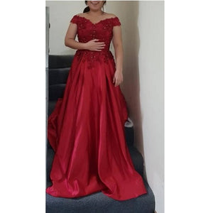 G130 (3+2), Wine Satin Off Shoulder Trail Ball gown, Size (XS-30 to XL-40)