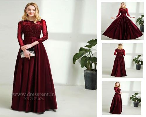 Dark Wine Satin Prom Dress, Size (XS-30 to L-38)