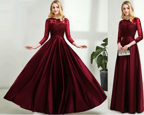 G92, Dark Wine Satin Ball Gown, Size (XS-30 to XXL-44)