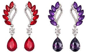 Beautiful Colorful Female Long Big Crystal Earrings Cuffs Fashion Jewelry in Red and Purple Color