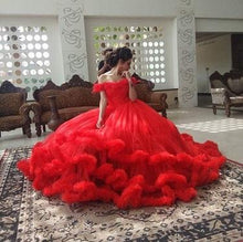 Load image into Gallery viewer, Red Puffy Cloud Trail Ball Gown, Size (XS-30 to L-38)