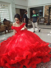 Load image into Gallery viewer, G137, Red Puffy Cloud Trail Ball Gown, Size (XS-30 to L-38)