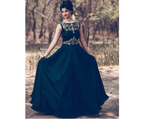 G162, Green Satin Gown, Size (XS-30 to L-38)