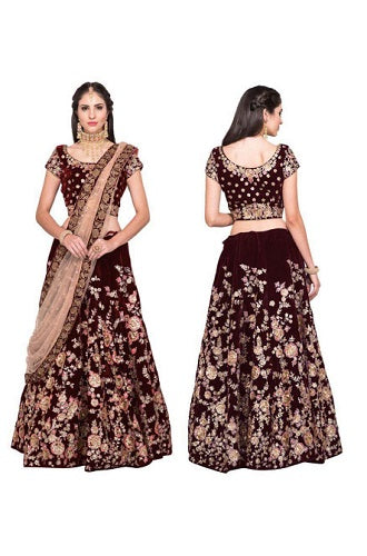 L27, Maroon Pink Embroidered Lehenga, Size (XS-30 to XL-40)