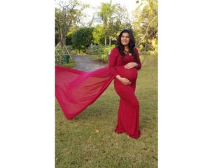 G44 (12)  Wine Red Maternity Shoot Trail Baby Shower Gown, Size (XS-30 to XXL-44)