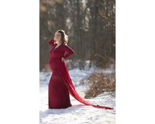 Load image into Gallery viewer, G44  (12)  Wine Red Trail Gown, Size (XS-30 to XXL-44)