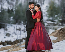 Load image into Gallery viewer, G92 (11), Dark Wine Satin Prewedding Shoot  trail Gown, Size (XS-30 to XXXL-46)