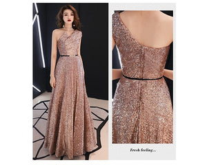 G151, Rose Gold One Shoulder Cocktail Gown, Size (XS-30 to L-36),