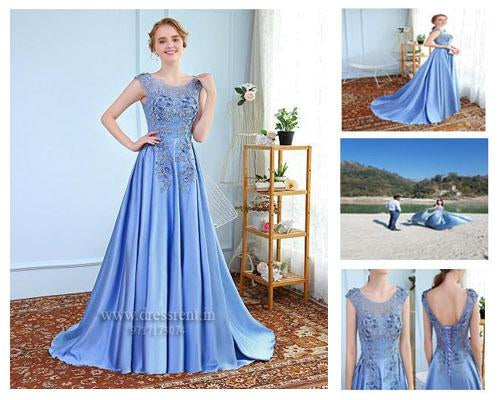 Sky Blue Satin Flower Prom Trail Gown, Size (XS-30 to XXXL-46)