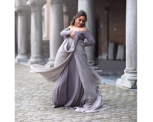 G155, Grey Trail Gown, Size (XS-30 to XXL-44)