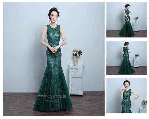 G78, Green Lace Tube Mermaid Gown, Size (XS-30 to L-36)