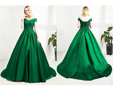 Load image into Gallery viewer, G196, Green Satin Prewedding Shoot  trail Gown, Size (XS-30 to XXL-44)