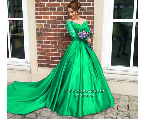 G122, Green colour Satin Off Shoulder Full Sleeves Trail Ball gown, Size (XS-30 to L-38)