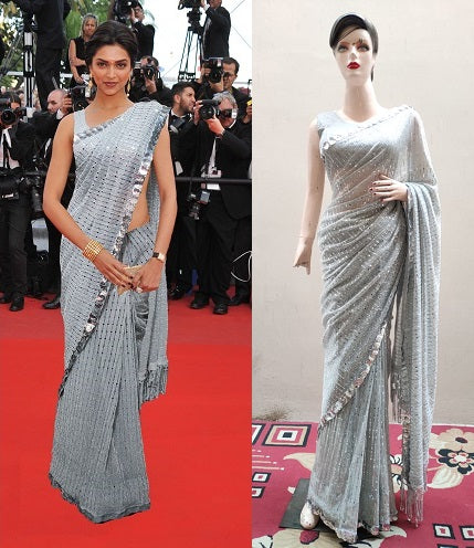 L87, Silver Party Wear  Saree, Size (XS-30 to L-38)
