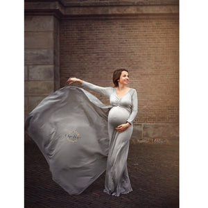 G155, Grey Maternity Shoot Trail Baby Shower Gown, Size (XS-30 to XXL-44)