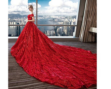 Load image into Gallery viewer, G226,(3) Red Luxury Feather Pattern Off-Shoulder Prewedding Extra Long Trail Gown, Size, (XS-30 to XL-40)