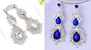 Silver and Royal Blue Long Earings