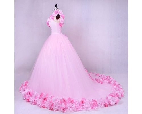 G144, Pink Floral Quinceanera Trail Big Ball Gown, Size (XS-30 to L-38)