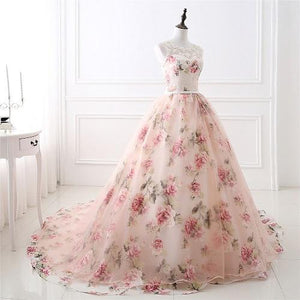 G120, Light Pink Floral Ball Gown with Trail, Size (XS-30 to XXXL-46)