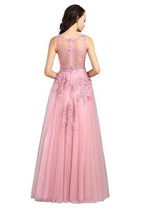 G80, Sweet Pink Lace Beading Long Gown, Size (XS-30 to L-38)