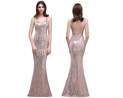 Rose Gold Mermaid Cocktail Gown, Size (XS-30 to L-36)