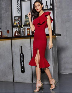 Red Slit Fishtail One Shoulder Dress, Size (XS-30 to L-38), G102,