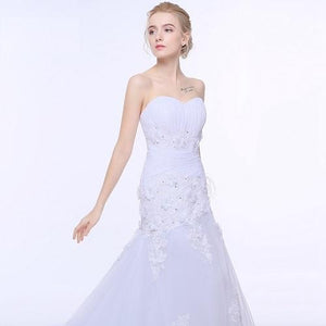 W159, White Mermaid Sweet Heart Trail Gown, Size (XS-30 toL-38)