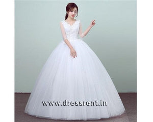 W169, White Half Sleeves Ball Gown, Size (XS-30 to XXL-44)