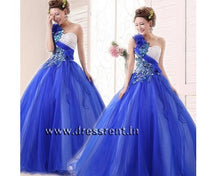 Load image into Gallery viewer, G166, Blue Prewedding Ball Gown, Size (XS-30 toL-38)