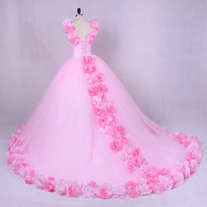 G144, Pink Flower Quinceanera Prewdding Trail Big Ball Gown, Size (XS-30 to L-38)