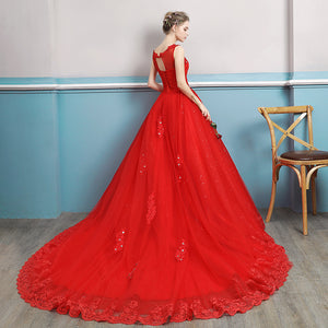 G128,(2)Red Lace Trail Gown, Size (XS-30 to L-38)