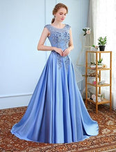 Load image into Gallery viewer, G73, Sky Blue Satin Flower Maternity Prom Trail Baby Shower Gown, Size (XS-30 to XXL-44)