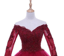 Load image into Gallery viewer, G135 (5),  Wine Ball Semi off Shoulder Gown, Size (XS-30 to M-30)