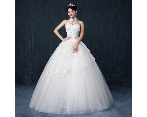 W168, White Halter Princess Ball Gown, Size (XS-30 to L-36)