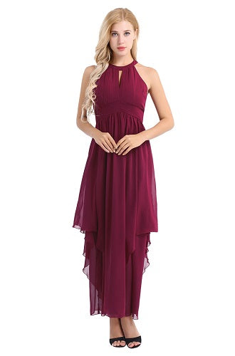 Wine Sleeveless Halter Chiffon Party Dress,Size (XS-30 to L-38)