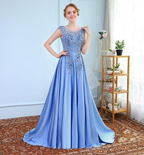 Load image into Gallery viewer, G73 t, Sky Blue Satin Flower Prom Trail Gown, Size (XS-30 to XXXL-46)