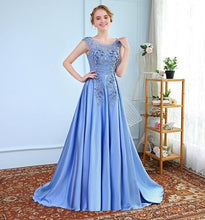 Load image into Gallery viewer, G73, Sky Blue Satin Flower Prom Gown, Size (XS-30 to XXXL-46)