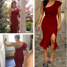 Load image into Gallery viewer, Red Slit Fishtail One Shoulder Dress, Size (XS-30 to L-38), G102,