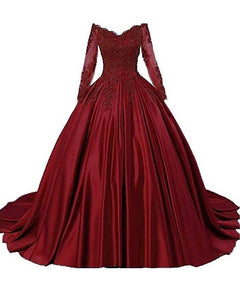 G229, Wine Satin Semi Off Shoulder Full Sleeves Prewedding Shoot Trail Ball Gown, Size (XS-30 to L-36)