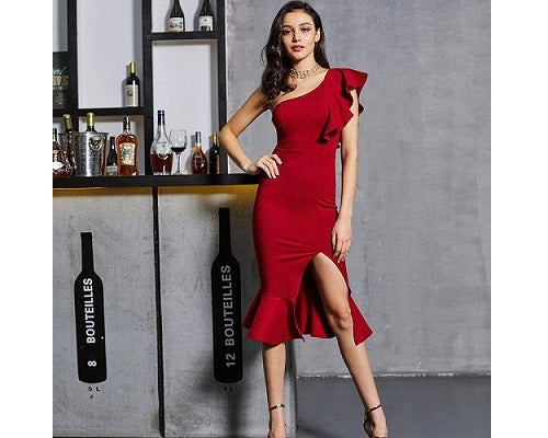 Red Slit Fishtail One Shoulder Dress, Size (XS-30 to L-38)