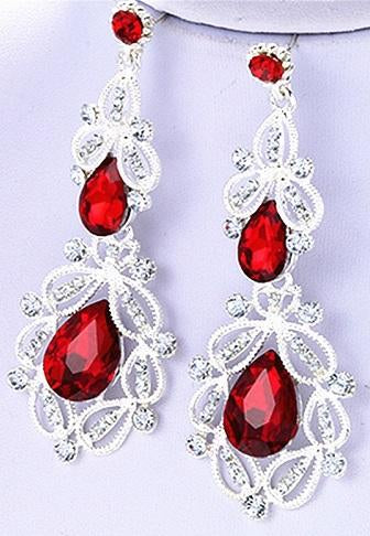 Red crystal drop earrings