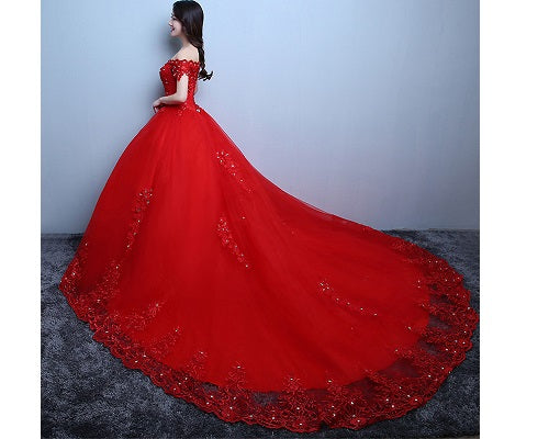 G134, Red OffShoulder Cap Sleeves Trail Ball Gown, Size (XS-30 to XXL-42)