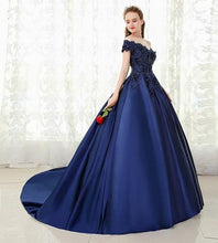 Load image into Gallery viewer, Navy Blue Satin Off Shoulder Trail Ball gown, Size (XS-30 to XL-40)
