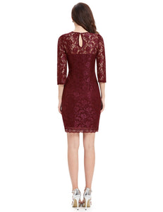 Wine Sleeves Cocktail Dress,Size (XS-30 to L-38)