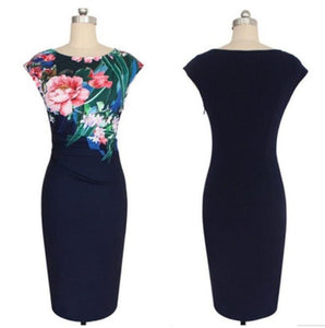 Sleeveless Flower Print Party Dress,Size (XS-30 to L-38)