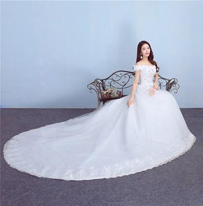 W171, White Off-Shoulder Flower Trail Wedding Gown, Size (XS-30 to L-38)