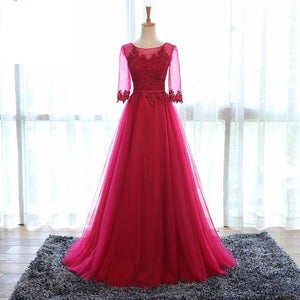 G183 (2), Wine half Sleeves Gown, Size (XS-30 to XL-40)