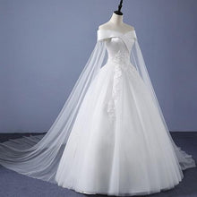 Load image into Gallery viewer, W151 (2) White Off-Shoulder Veil Princess Trail Wedding Gown, Size (XS-30 to XL-40)